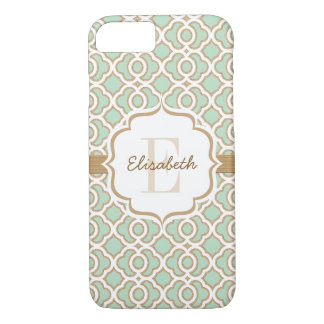 Monogram Mint Green and Gold Quatrefoil iPhone 7 Case