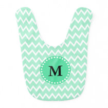 Monogram Mint Green and White Chevron Pattern Baby Bib