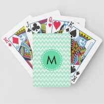 Monogram Mint Green and White Chevron Pattern Bicycle Playing Cards