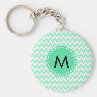 Monogram Mint Green and White Chevron Pattern Keychain