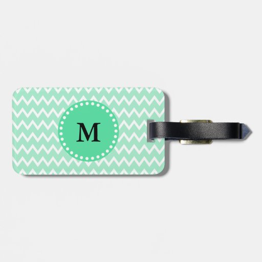 Monogram Mint Green and White Chevron Pattern Tags For Luggage