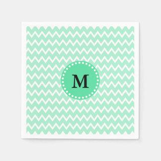 Monogram Mint Green and White Chevron Pattern Paper Napkins