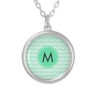 Monogram Mint Green and White Chevron Pattern Round Pendant Necklace