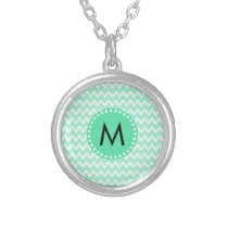 Monogram Mint Green and White Chevron Pattern Silver Plated Necklace
