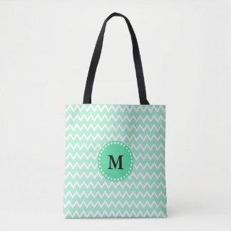 Monogram Mint Green and White Chevron Pattern Tote Bag