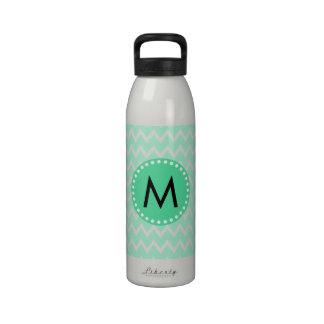 Monogram Mint Green and White Chevron Pattern Water Bottles