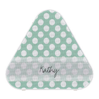 Monogram Mint Green Cute Chic Polka Dot Pattern Bluetooth Speaker