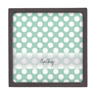 Monogram Mint Green Cute Chic Polka Dot Pattern Gift Box