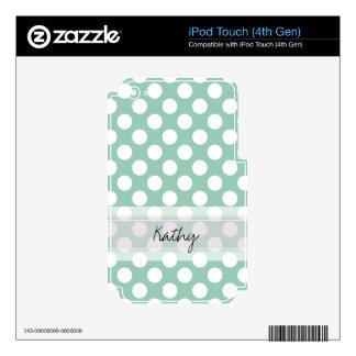 Monogram Mint Green Cute Chic Polka Dot Pattern iPod Touch 4G Skin