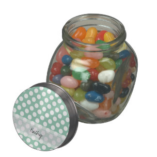 Monogram Mint Green Cute Chic Polka Dot Pattern Jelly Belly Candy Jars