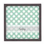 Monogram Mint Green Cute Chic Polka Dot Pattern Premium Trinket Boxes