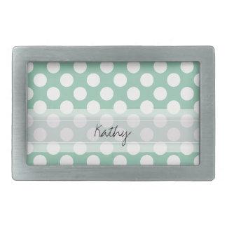 Monogram Mint Green Cute Chic Polka Dot Pattern Rectangular Belt Buckle