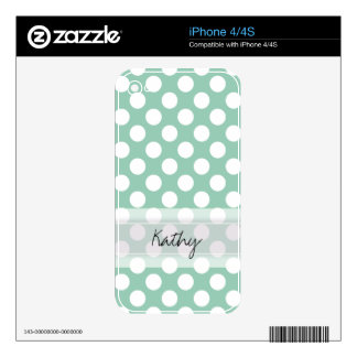 Monogram Mint Green Cute Chic Polka Dot Pattern Skins For iPhone 4S