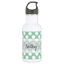 Monogram Mint Green Cute Chic Polka Dot Pattern Stainless Steel Water Bottle