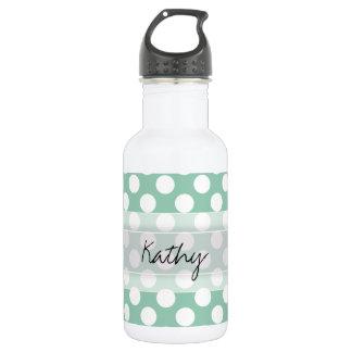 Monogram Mint Green Cute Chic Polka Dot Pattern Stainless Steel Water Bottle
