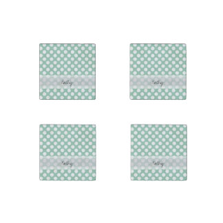 Monogram Mint Green Cute Chic Polka Dot Pattern Stone Magnet