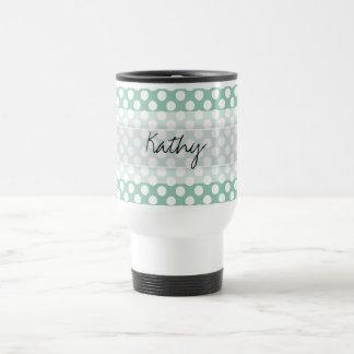 Monogram Mint Green Cute Chic Polka Dot Pattern Travel Mug