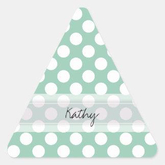 Monogram Mint Green Cute Chic Polka Dot Pattern Triangle Sticker