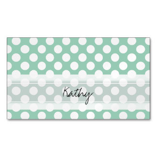 Monogram Mint Green Cute Chic Polka Dot Pattern Magnetic Business Cards (Pack Of 25)