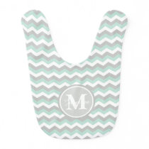 Monogram Mint Green Gray Chevron Zigzag Stripe Bib