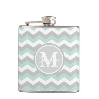 Monogram Mint Green Gray Chevron Zigzag Stripe Hip Flasks