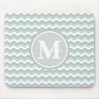 Monogram Mint Green Gray Chevron Zigzag Stripe Mouse Pad