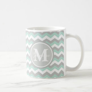 Monogram Mint Green Gray Chevron Zigzag Stripe Mug