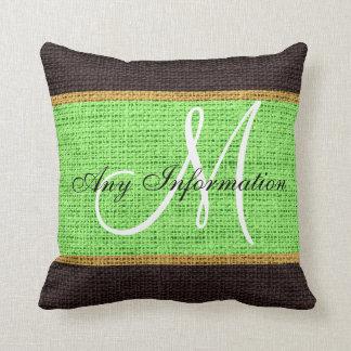 Monogram Mint green Rustic Burlap Jute Throw Pillow