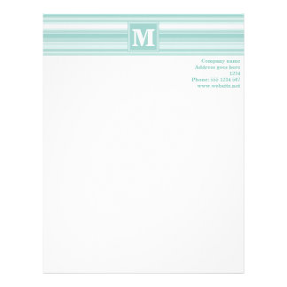 Monogram mint green stripes letterhead