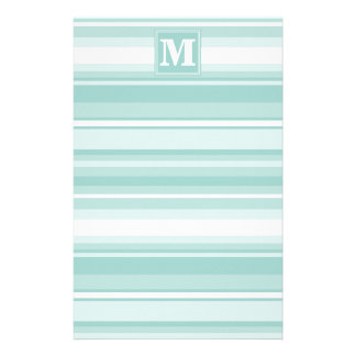 Monogram mint green stripes stationery