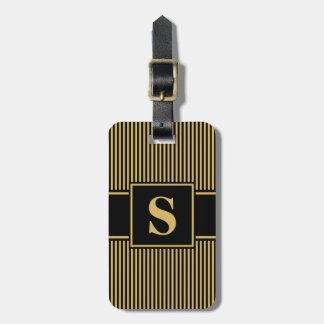 Monogram Misted Yellow Black Pinstripes Tag For Luggage