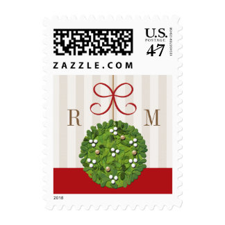 Monogram Mistletoe Wedding Postage Stamps