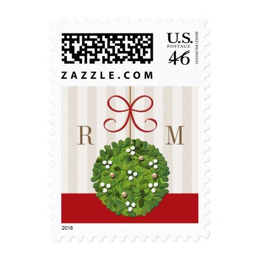 Monogram Mistletoe Wedding Postage Stamps