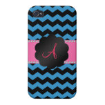 Monogram misty blue and black chevrons cover for iPhone 4