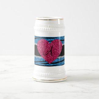 Monogram misty blue glitter zebra stripes heart mugs