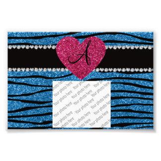Monogram misty blue glitter zebra stripes heart photo art