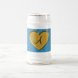 Monogram misty blue gold anchors heart coffee mugs