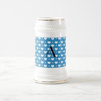 Monogram misty blue hearts polka dots coffee mugs