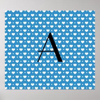 Monogram misty blue hearts polka dots poster