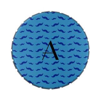 Monogram misty blue mustache pattern candy tins