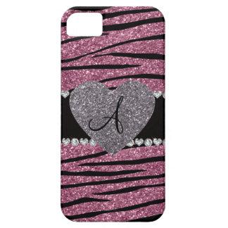 Monogram misty pink glitter zebra stripes heart cover for iPhone 5/5S
