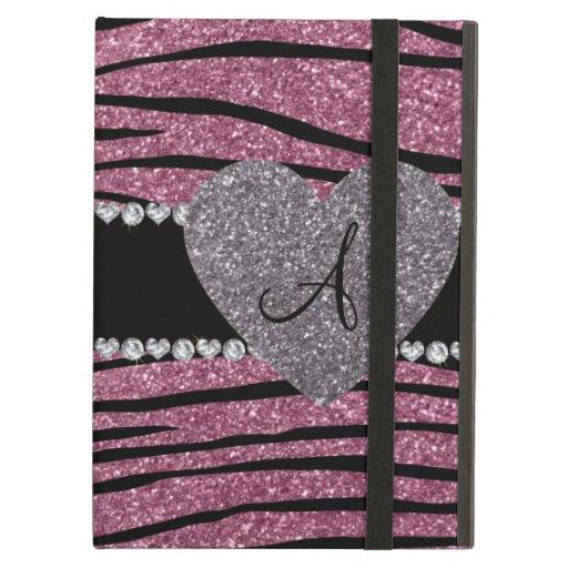 Monogram misty pink glitter zebra stripes heart iPad folio cases