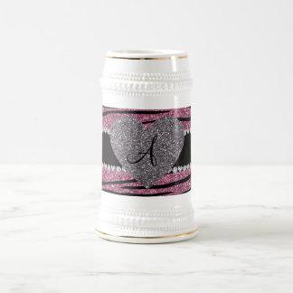 Monogram misty pink glitter zebra stripes heart coffee mugs