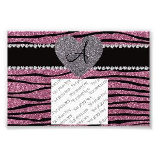 Monogram misty pink glitter zebra stripes heart photo print