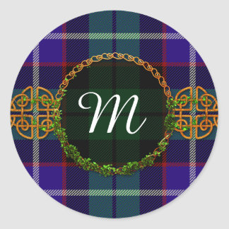 Monogram Mitchell Tartan Classic Round Sticker