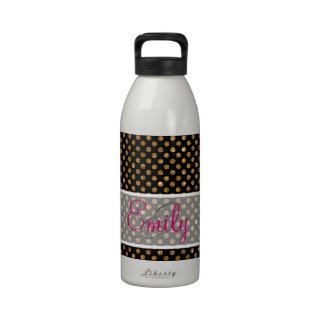 Monogram Mod Gold Glitter Polka Dots Pattern Black Reusable Water Bottle