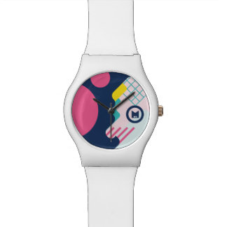 Monogram. Modern 80s Geometric Pattern. Wrist Watch
