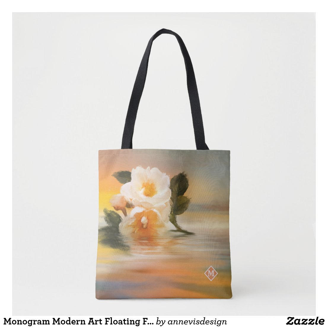 Monogram Modern Art Floating Flowers Tote Bag