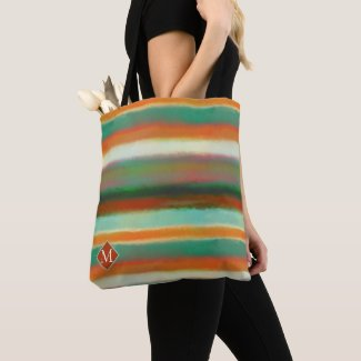 Monogram Modern Art Striped Pattern Tote Bag
