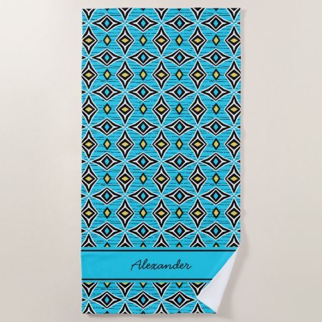 Monogram modern aztec tribal pattern beach towel